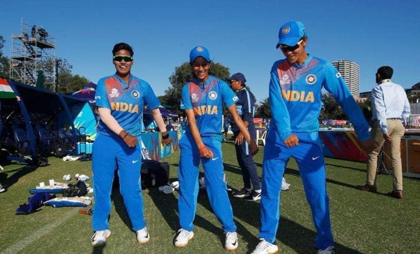 India players celebrate post their win against Sri Lanka in the ICC Women's T20 World Cup 2020. India have now won all their four matches in the tournament thus far. Image credits @T20WorldCup