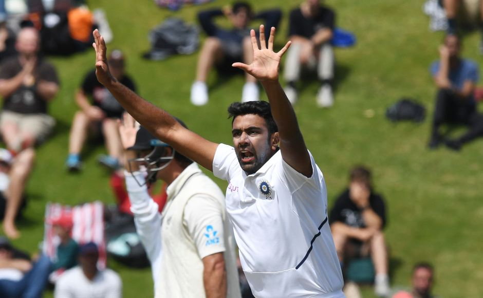 R Ashwin appeals for the wicket of Colin de Grandhomme, which he eventually got with the Kiwi batsman being dismissed for 43. AP