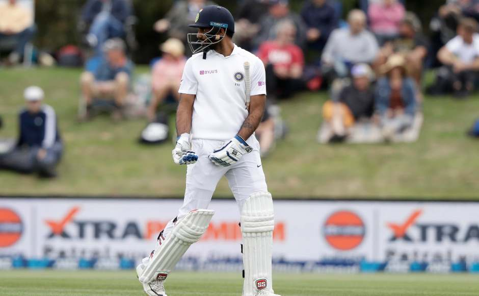 Hanuma Vihari was the first to depart on Day three after he was caught behind by keeper BJ Watling off Tim Southee's delivery. AP