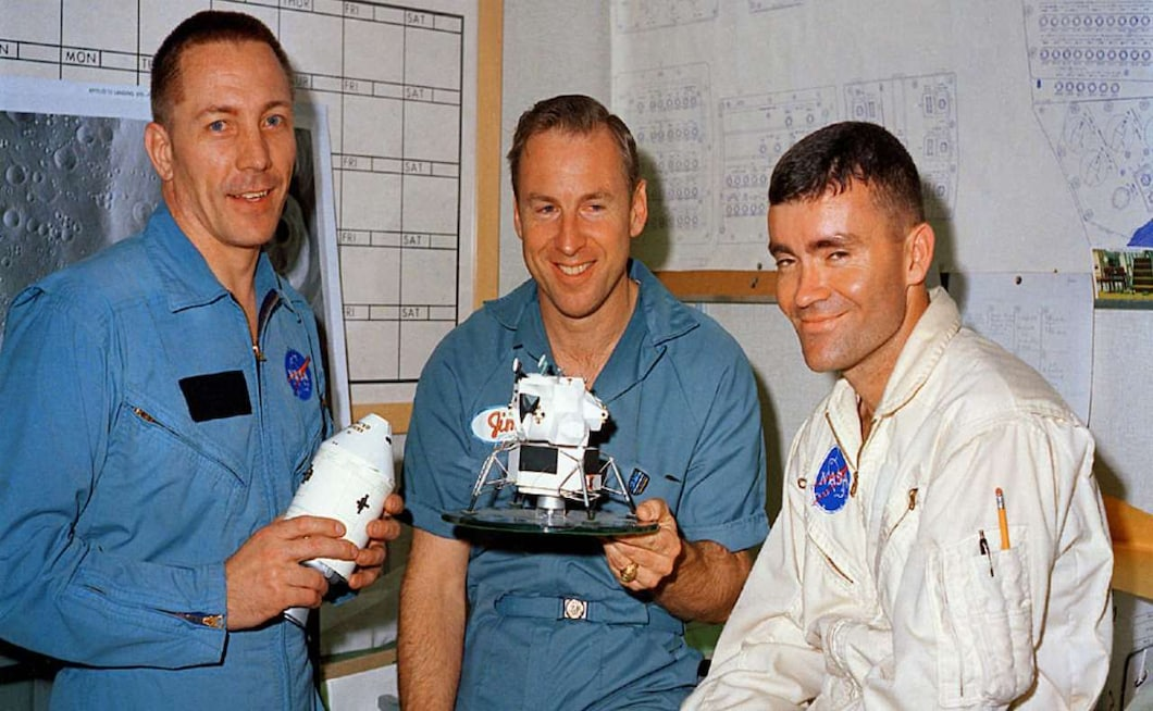 Apollo 13's mission commander, Jim Lovell, was 42 years old and was, at that time, the NASA astronaut with the most time in space - 572 hours. He has flown in three missions - Gemini 7 and 12 and Apollo 8. The command module pilot, Jack Swigert, was 38 years old and Fred Haise, the lunar module pilot was 35 years old. The Apollo 13 was the only spaceflight Haise and Swigert ever went on. Image credit: NASA