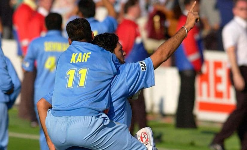 Mohammad Kaif and Yuvraj Singh celebrating India's victory. Image courtesy: Twitter/@ICC