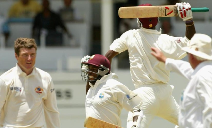 West Indies' pursuit of 418 against Australia in 2003 remains the highest successful chase in Test history. Twitter @ICC
