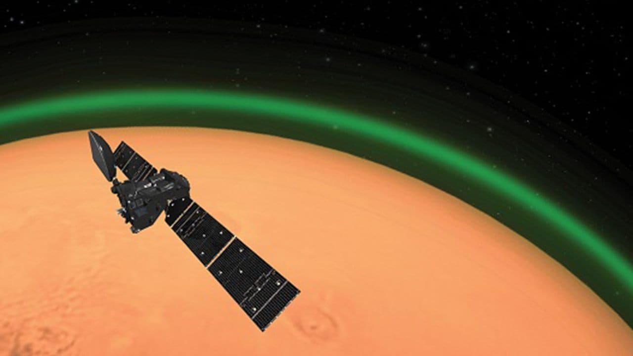 Artist's impression of the TGO at Mars. The TGO detects the excited oxygen not with an imaging camera (hence no pretty pictures) but with its Nomad spectrometer package. This instrument sees the oxygen at very particular altitudes. Image: ESA
