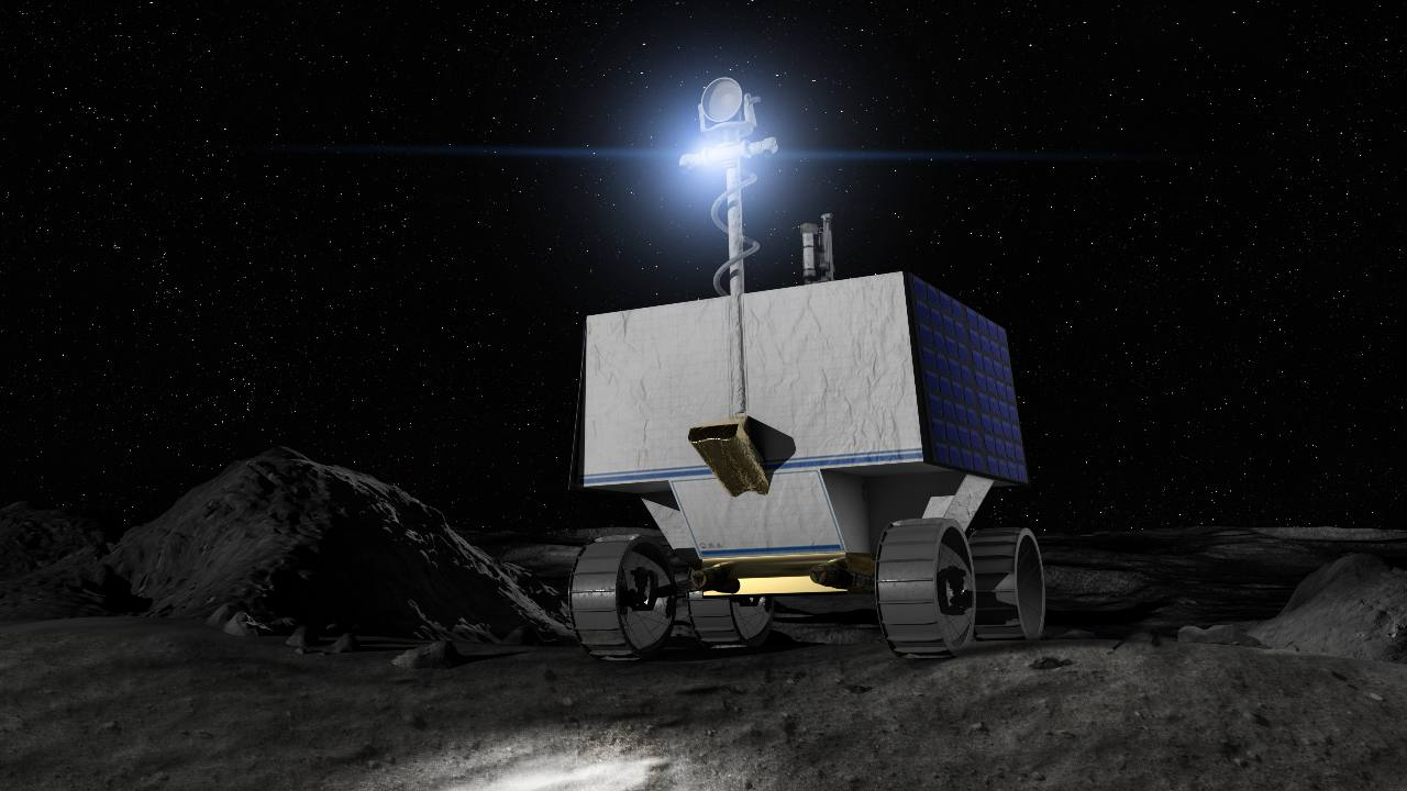 Illustrazione del composto volatile della NASA che studia l'esplorazione polare (VIPER) sulla luna Crediti: NASA Ames/Daniel Rutter
