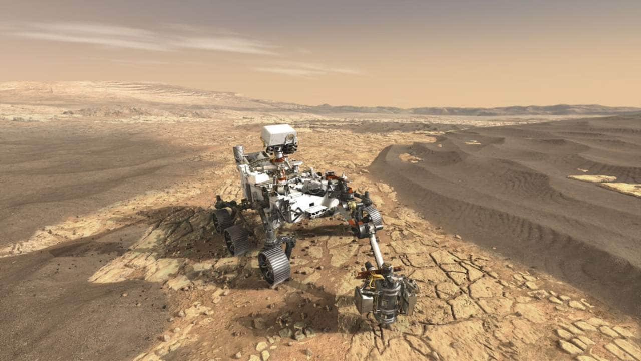 The Mars 2020 Perseverance rover's astrobiology mission will search for signs of ancient microbial life in and around the Jezero crater. Image: NASA/JPL