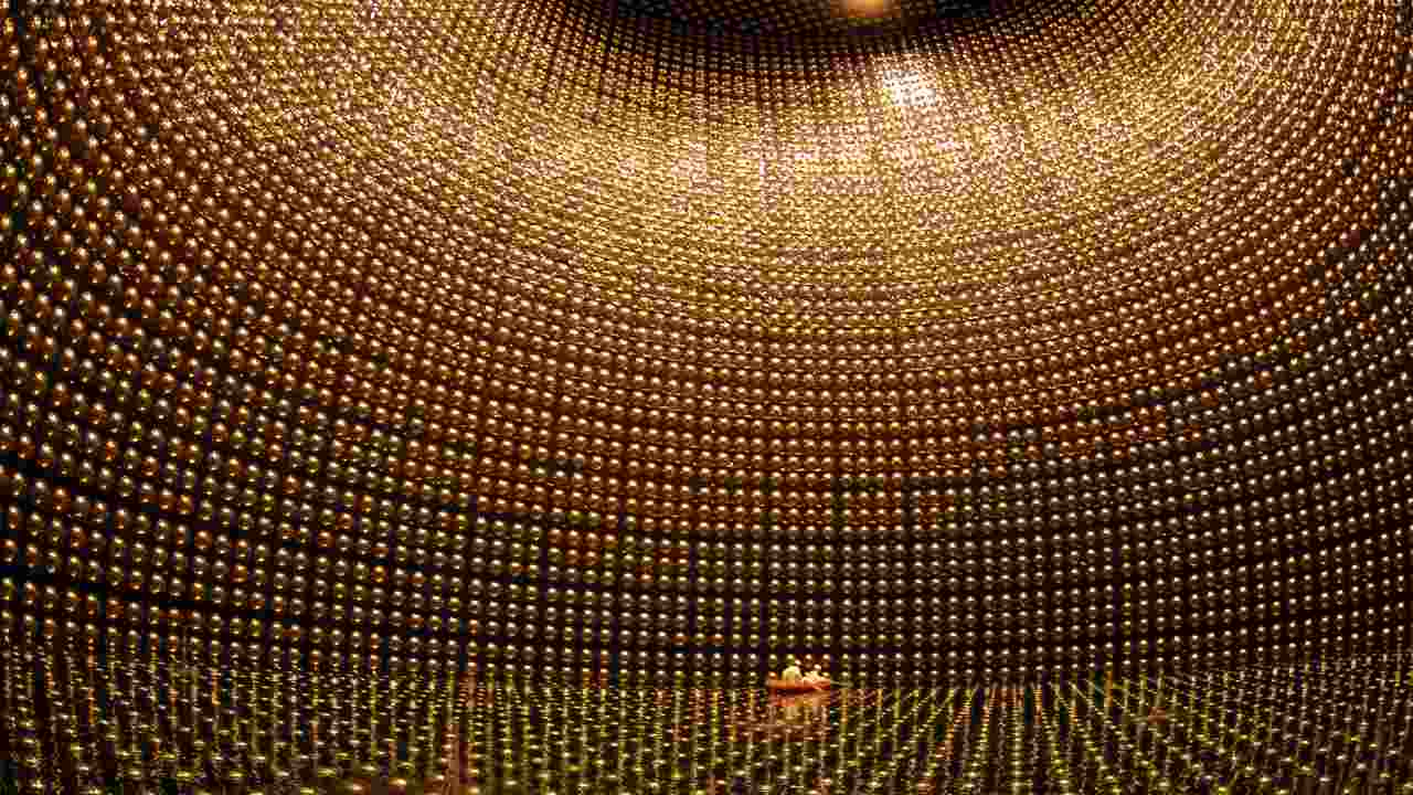 Photomultiplier tubes on the inside surface of the partly-submerged Kamiokande Neutrino Observatory in Japan. Image: Kamiokande Neutrino Observatory
