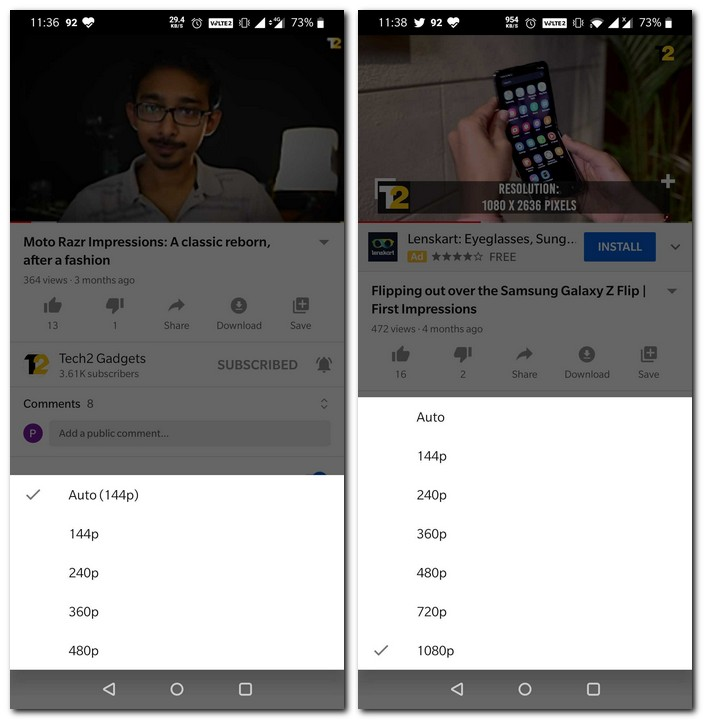 YouTube video quality options while on mobile data and WiFi connection. (L-R)