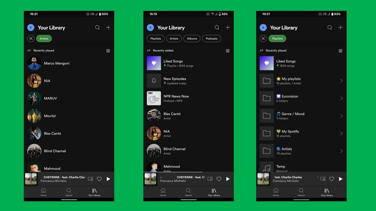 New Spotify playlist layout. Image: Android Police