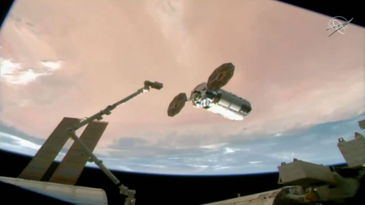 Cygnus cargo ship named after Hidden Figure Katherine Johnson arrives at space station  - The Cygnus NG 15 cargo ship arrives at the International Space Station on 22 Feb 2021 in this view from a camera on the stations exterior NASA TV - Cygnus cargo ship named after 'Hidden Figure' Katherine Johnson arrives at space station- Technology News, Firstpost