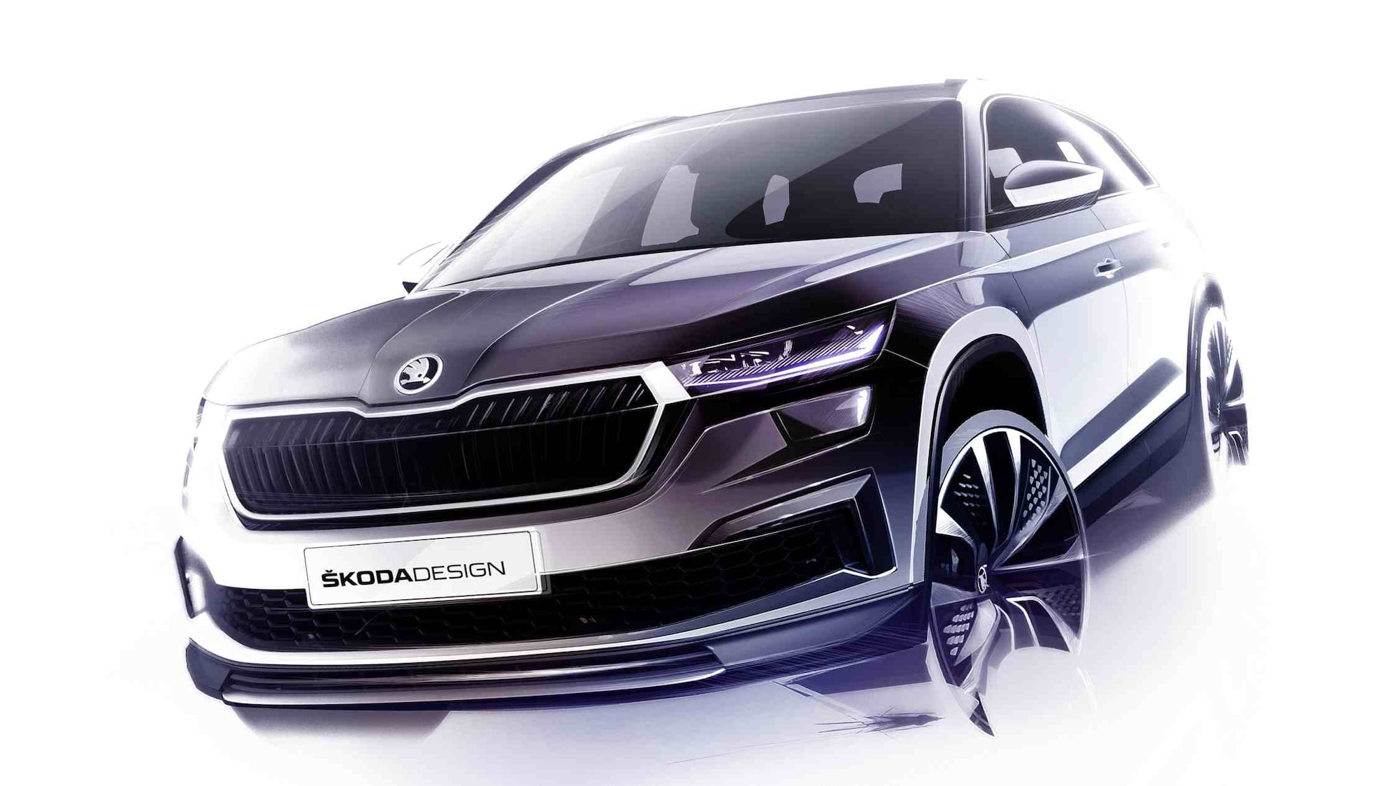 Skoda Kodiaq facelift previewed in design sketches, world premiere slated for 13 April
