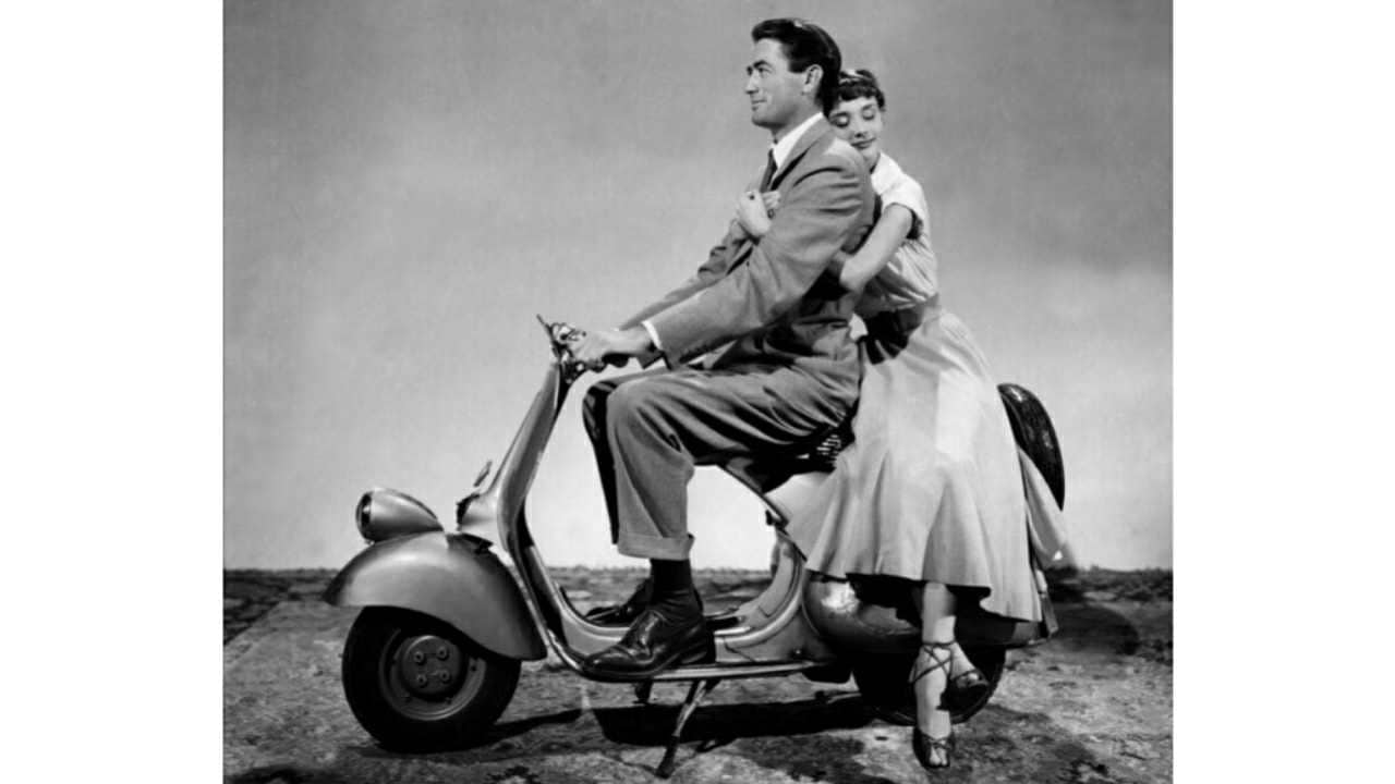 The Vespa starred in the movie Roman Holiday with Audrey Hepburn and Gregory Peck riding it in Rome. Image: Piaggio