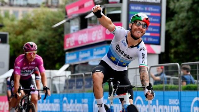 Giro d'Italia 2021: Giacomo Nizzolo wins 13th stage as Egan Bernal holds on to leader's jersey