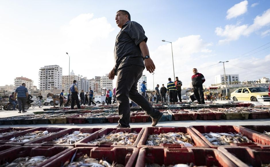 Israeli security forces prevented fishermen from sailing during the conflict, but they began allowing a limited number of ships to set out beginning Saturday as Egyptian mediators worked to firm up a ceasefire that took effect on Friday, 21 May.   In the picture: Lots of seafood are organized on the ground as buyers browse the day's catch at auction in Gaza City, on Sunday, 23 May, 2021. Photo via The Associated Press/John Minchillo