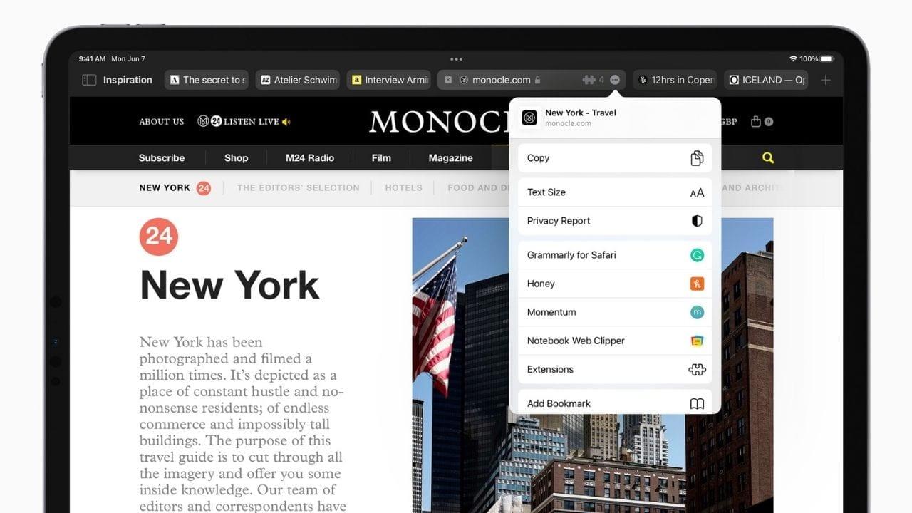 iPhone और iPad पर वेब एक्सटेंशन आ रहे हैं।  छवि: सेब