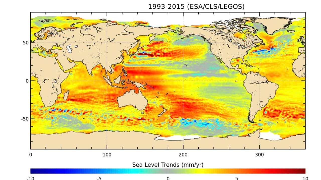 The sea is rising quickly – but not evenly. Image credit: ESA/CLS/LEGOS, CC BY-SA