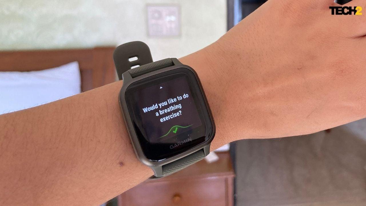 Garmin Venu Sq में एक Apple वॉच जैसा ऐप भी है जो आपको ध्यान से सांस लेने का अभ्यास करने में मदद करता है।  छवि: नंदिनी यादव