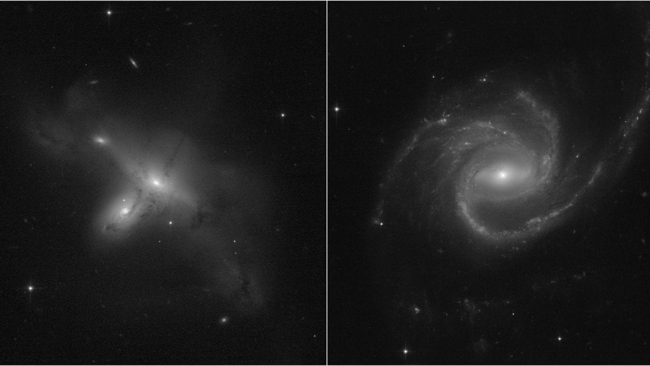 These images, from a program led by Julianne Dalcanton of the University of Washington in Seattle, demonstrate Hubble's return to full science operations. [Left] ARP-MADORE2115-273 is a rarely observed example of a pair of interacting galaxies in the southern hemisphere. [Right] ARP-MADORE0002-503 is a large spiral galaxy with unusual, extended spiral arms. While most disk galaxies have an even number of spiral arms, this one has three. Credits: Science: NASA, ESA, STScI, Julianne Dalcanton (UW) Image processing: Alyssa Pagan (STScI)