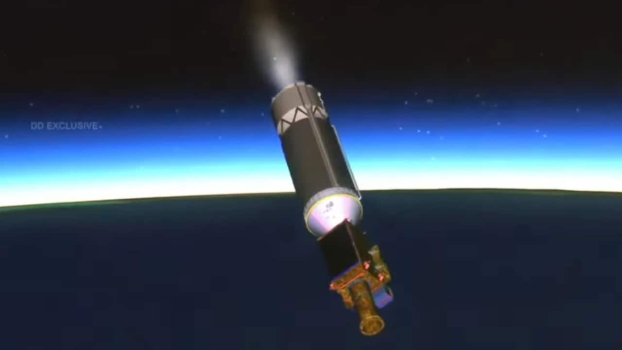 Screengrab from the EOS-03 mission launch showing GSLV-F10's third stage pitching downwards. Image credit: ISRO/YouTube/Karthik Naren