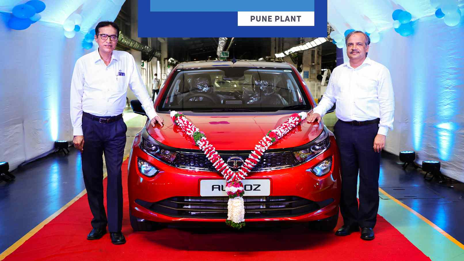 The 100,000th Tata Altroz to be made is finished in the Downtown Red shade. Image: Tata Motors