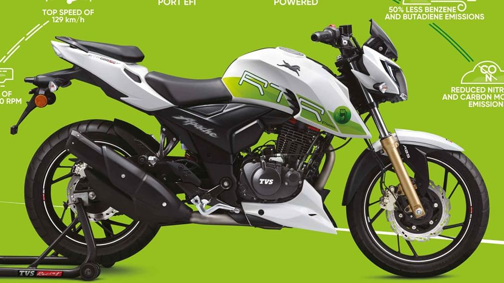 TVS had introduced an ethanol-powered Apache in 2019. Image: TVS
