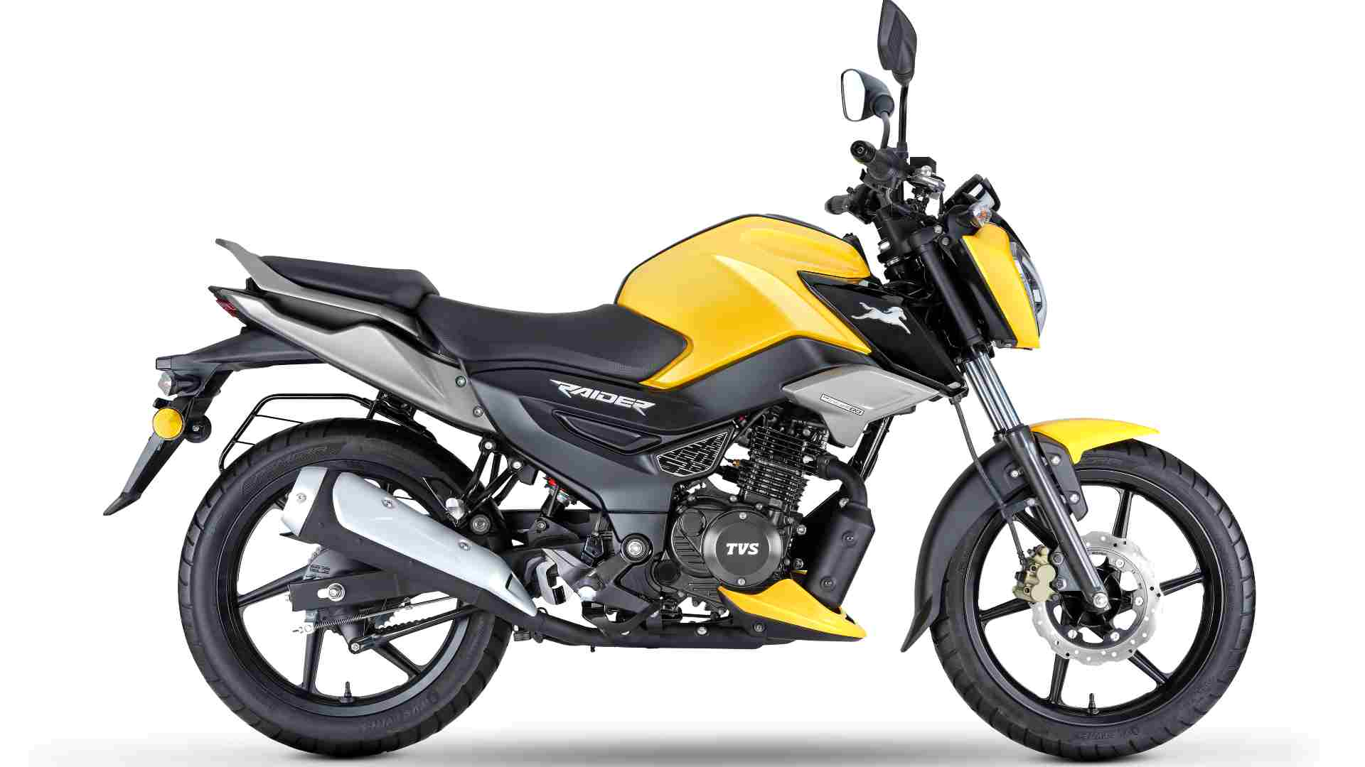 Even the disc variant of the Raider will only have a drum brake at the rear. Image: TVS