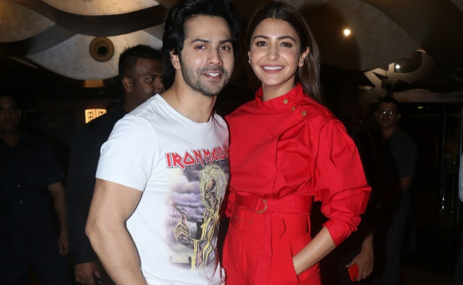 Anushka Sharma and Varun Dhawan, who play the lead pair, Mamta and Mauji, attend the special screening of Sui Dhaaga: Made in India