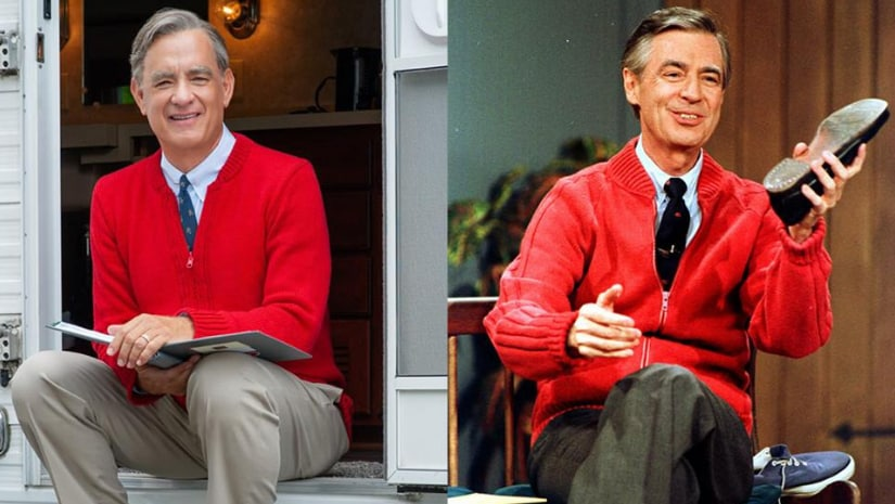 Toma hanks (left) and Fred Rogers (right). Image from Facebook