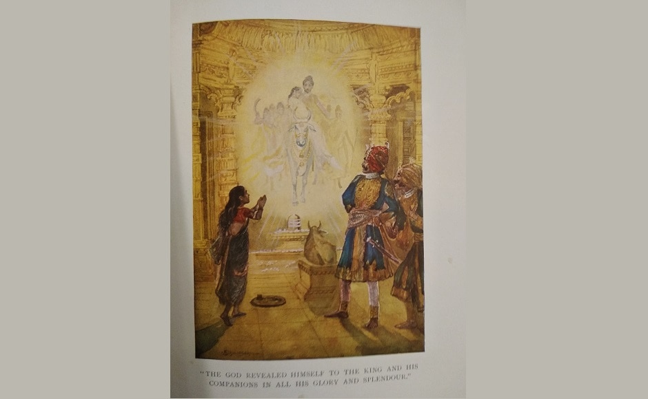 This illustration, The God revealed himself to the king and his companions in all his glory and splendour, appears in the story <em>The Golden Temple</em>. Dhurandhar was deeply rooted in traditional ideas in his personal life yet his works have been described as re-indigenized Indian naturalism in response to Western ideals.