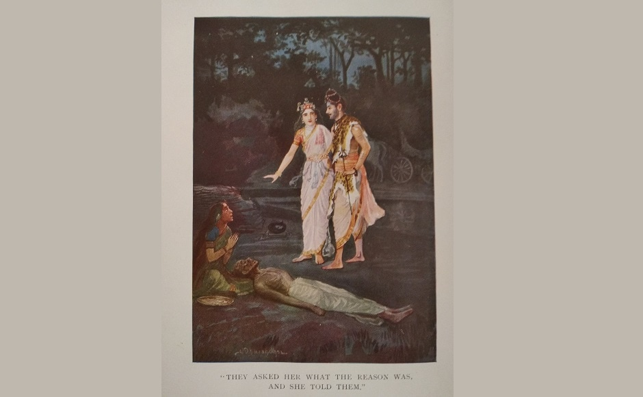 An illustration for the story, <em>Parwati and the Beggar Man</em>, They asked her what the reason was, and she told them is yet another Dhurandhar creation which depicts the simple Indian life rooted in faith from his own individual perspective. The exhibit that aims to explore a range of practices, themes and ideas that Dhurandhar touched upon will be open until 1 October, 2018 at one of the city's popular museum spaces.