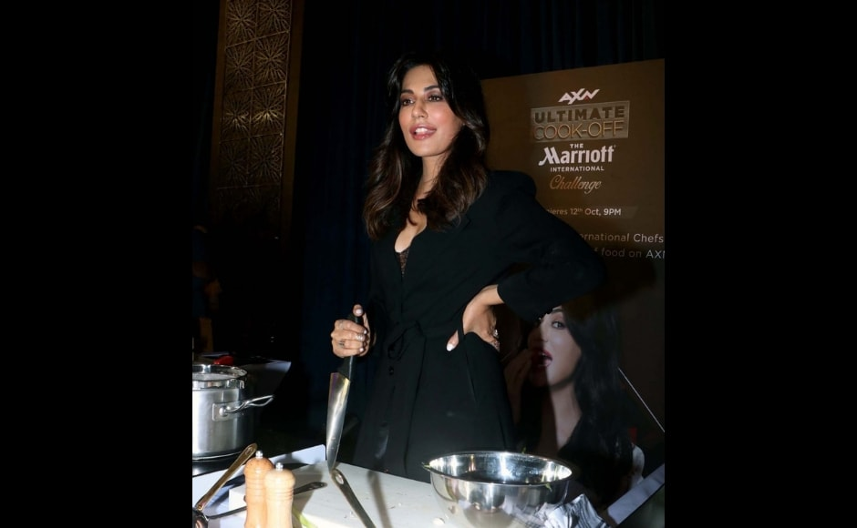 Judge Chitrangada Singh poses with a chef's knife for unveiling of AXN Ultimate Cook-off The Marriott International challenge. Image via Twitter