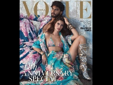 Ranveer Singh poses for Vogue India's October issue alongside Victoria's Secret Angel Sara Sampaio