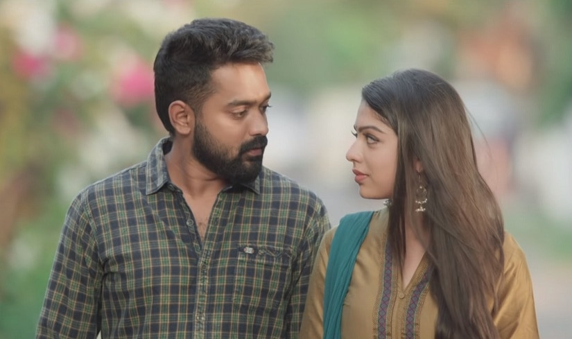Asif Ali and Varsha Bollamma in a still from Mandharam. YouTube screengrab