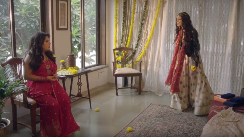 Nazia (Mallika Dua) and Ira (Amyra Dastur) while the two have the talk-off before Ira decides to make a run for it. YouTube screengrab