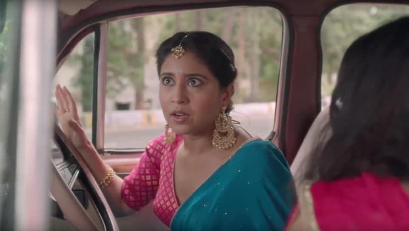 Ananya's moment of truth when she realises she's helping Ira elope from her own wedding in The Trip 2. YouTube screengrab