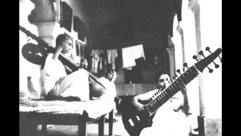 Ustad Allaudin Khan and Annapurna Devi in riyaz. Image courtesy Roli Books