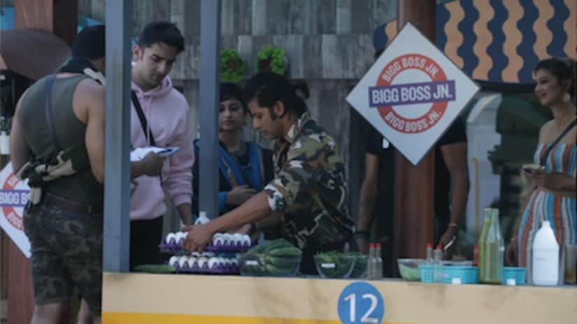 Contestants performing the Bigg Boss luxury budget task