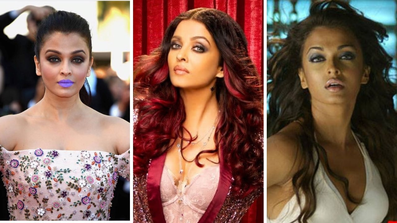 Aishwarya Rai at 2016 Cannes red carpet, Look in Fanney Khan (centre), and Dhoom 2. Images via Facebook