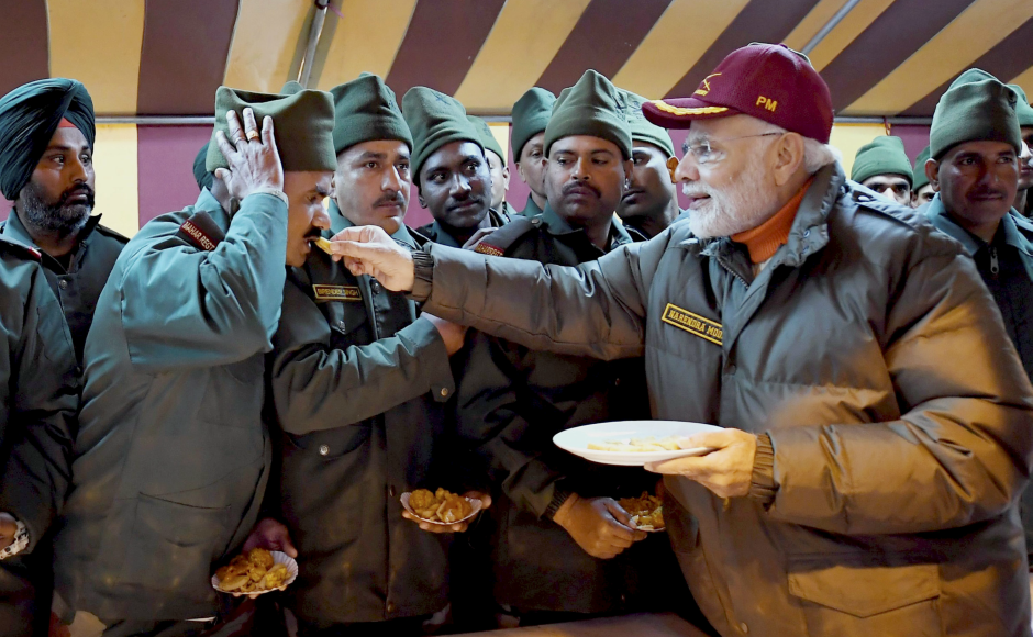 Modi celebrated his Diwali with army and ITBP personnel in the icy terrain near the India-China border, saying their devotion to duty in the remote icy heights is enabling the strength of the nation. PTI