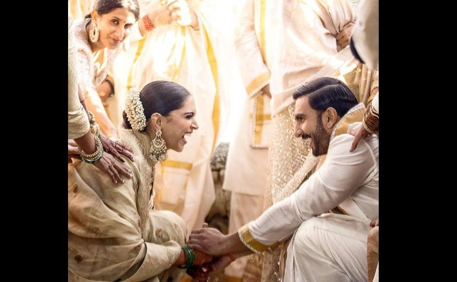 Because Deepika Padukone hails from Bangalore, the couple first got married in a traditional Konkani ceremony. Image via Twitter/@RanveerOfficial