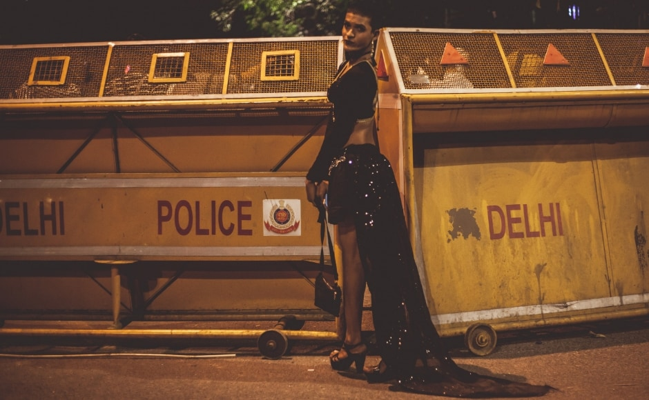 Here: Parth, an attendee, poses for a quick portrait at the police barracks before heading to the post-Pride do.