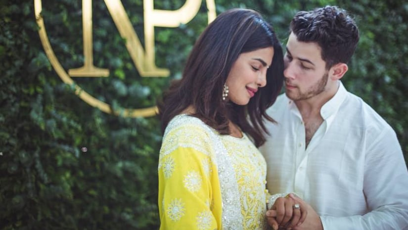 Priyanka Chopra and Nick Jonas at their engagement ceremony. Image from Facebook