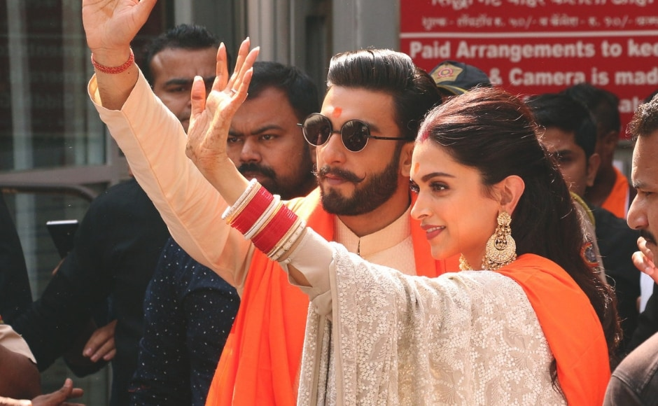 Ranveer Singh and Deepika Padukone were spotted waving at fans who had gathered at the place. Sachin Gokhale