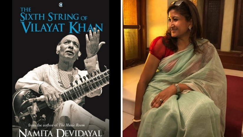 Cover page of The Sixth String of Vilayat Khan (L); author Namita Devidayal after the book launch at Mumbai's Royal Opera House (R).