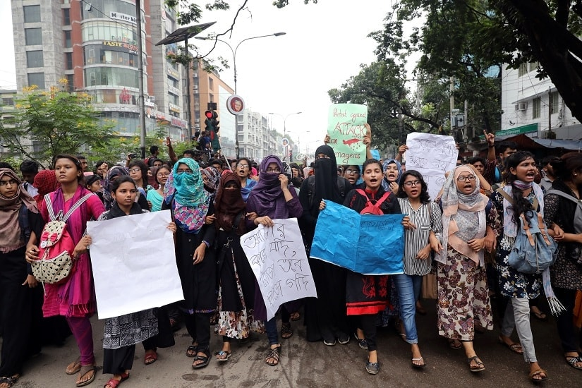 Students shout slogan during a rally as they join in a protest over recent traffic accidents that killed a boy and a girl, in Dhaka, Bangladesh, this August. REUTERS