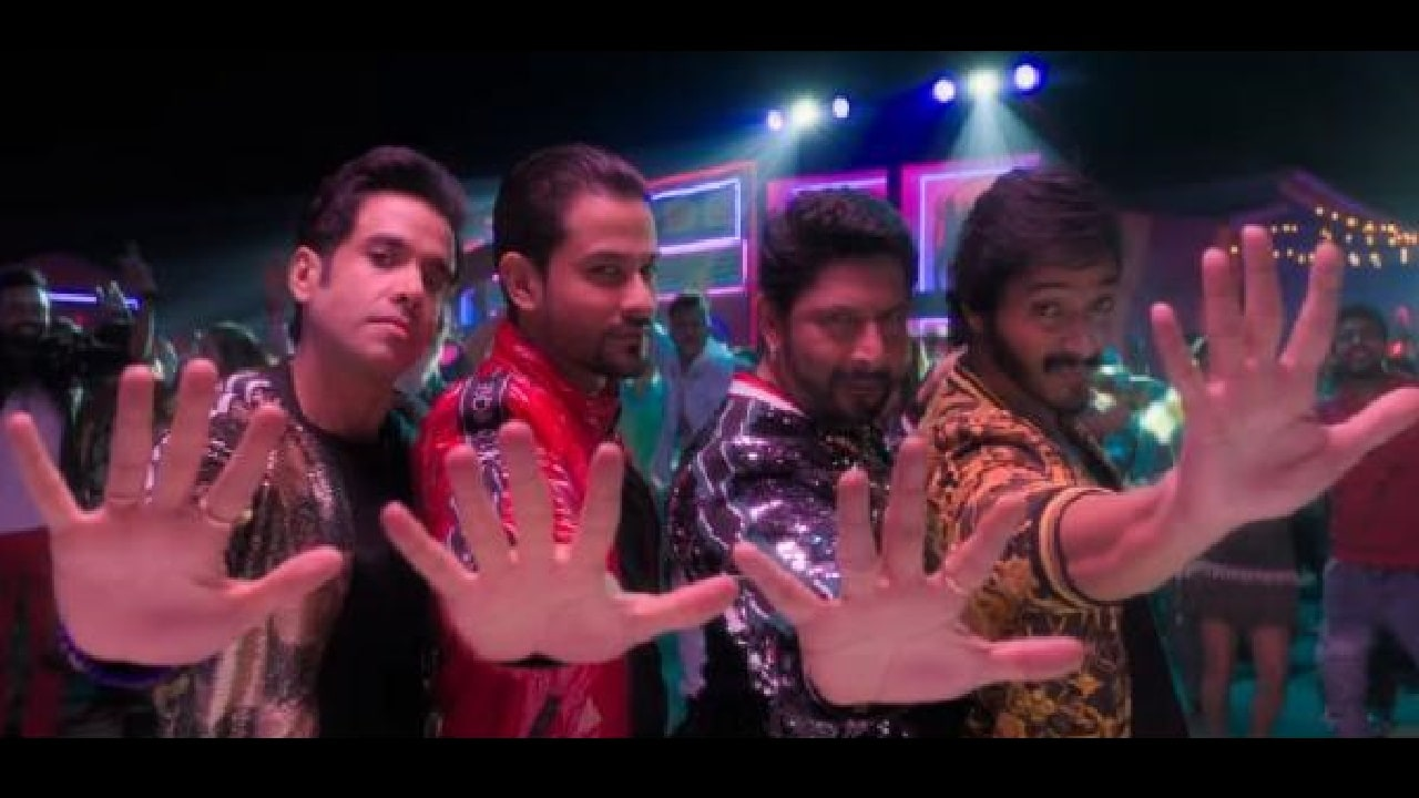 A sill from Aankh Maare with Golmaal boys holiding out five fingers. YouTube screengrab