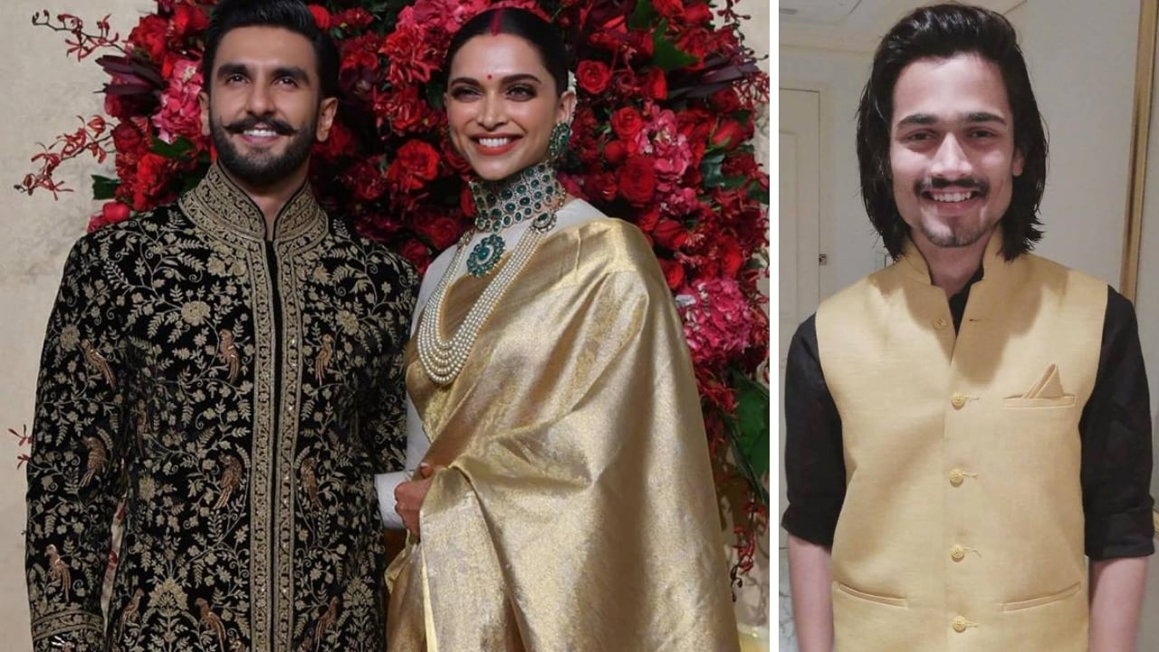 Deepika Padukone and Ranveer Singh during their Bangalore reception (left), Bhuvam Bam. Facebook
