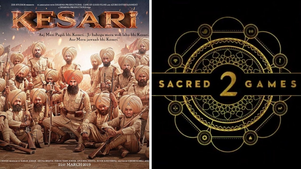 Kesari first look (left), Netflix's Sacred Games. Images via Facebook