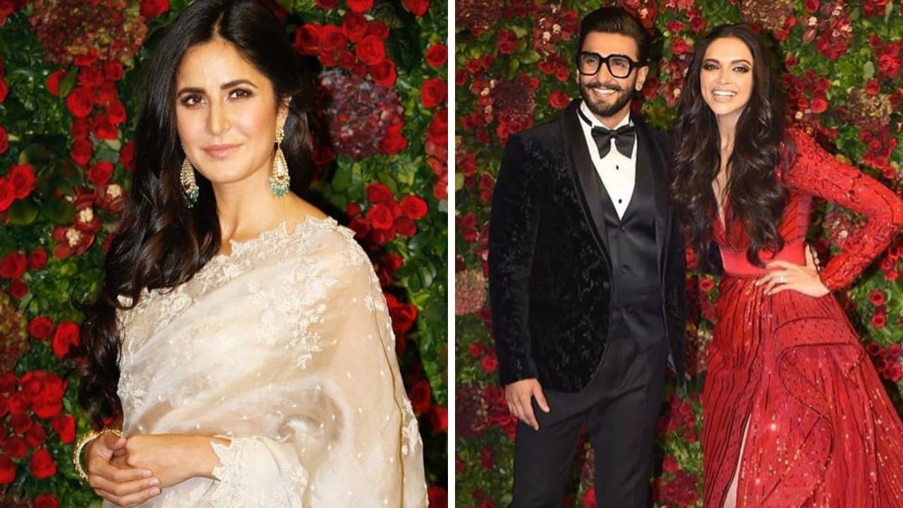 Katrina Kaif (left), Deepika Paudukone and Ranveer Singh at their Mumbai reception. Facebook/@TitliYan