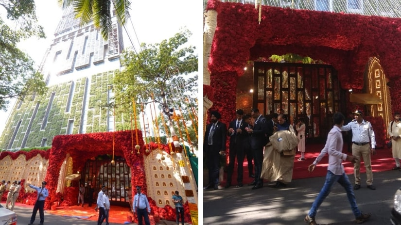 A view of Antilla on Isha Ambani, Anand Piramal wedding day. Sachin Gokhale