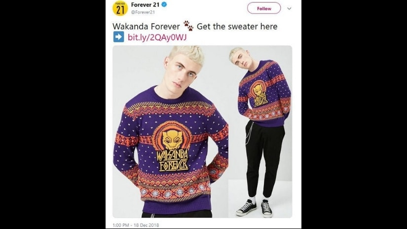"Forever 21's initial ad, depicting a white man with the ""Wakanda Forever"" sweater. Image from Facebook"